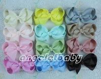50pcs Baby handmade Headwear 3 inch grosgrain ribbon Bowknot  hair bows boutique hair clips bows kids hair accessories HD3202