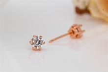 18K Gold Plated Cupid Cut Cubic Zirconia CZ Unisex Mini Stud Earring Fashion Jewelry For Mens