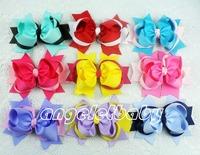 50pcs Baby handmade Headwear 5 inch big ring grosgrain ribbon Bowknot hair bows boutique funky clips hair accessories HD3204