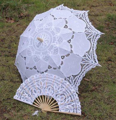 Free Shipping 2014 Fashion Hot Sale White Wedding bridal Umbrellas Lace Fan and Wedding Umbrella Lace Parasols(China (Mainland))