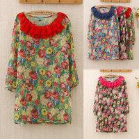 357  Hot Sale Summer Dress 2014 Long Sleeve Ruffle Collar Flower-print Chiffon Mini Dress for Women Drop Shpping Wholesale