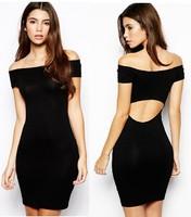 2014 Summer Hot New Black Slash neck Midriff Backless Stretchable Slim Bodycon Dress Party Dress S-XL