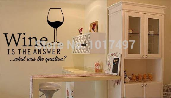 free shipping funny Bar Pub Wall Art stickers wine decals ,Restaurant wall decor vinyl wine decoration ,F2052L(64x56cm)(China (Mainland))