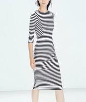 New Fashion Ladies' Elegant striped print Dress O neck three quarter sleeve dress causal slim evening party brand dress