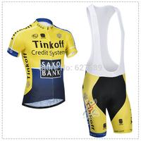 saxo bank tinkoff 2014 Cycling Jersey bib kit Short Sleeve bib Shorts Cycling tight ropa Ciclismo fitness clothes bicycle MTB