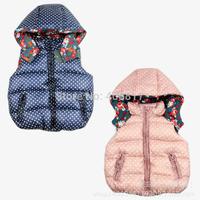 2014 new fashion winter girls Down jacket waistcoat Polka Dot thicken children outwear waistcoat sleeveless zipper hooded coat