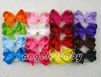 100pcs Gril Pure color handmade Headwear 3 inch grosgrain ribbon Bowknot hair bows boutique hair clips hair accessories HD3208