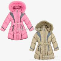 2014 New fashion winter girls Down jacket Long sleeve patchwork hooded thicken zipper children outerwear with a belt 5 sizes