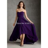 A-Line Princess Strapless Chiffon High Low Bridesmaid Dress HWGJCBD10