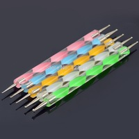 A7 Free shipping New5 PCS/Set 2-way Marbleizing Nail Polish Art Dotting Painting Pen tool be used on Natural nails T0929 P