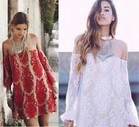 New Women Casual Dresses Off Shoulder Long Sleeves Lace vestidos femininos vestido de festa atacado roupas femininas Sheer Dress