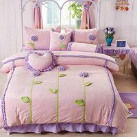 Princess pink flower super soft thermal piece set short plush velvet bedding set