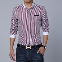 Free shipping 2014 new fashion men shirt casual slim long sleeve men shirt turn-down collar striped shirt men size M~3XL