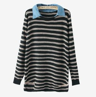 Fashion European Horizontal stripes of new fund of 2014 autumn winters denim led long knitted pullovers