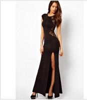 Free shipping,back lace split ends long dress