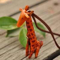 Funky genuine leather making giraffe charm necklace genuine leather vintage jewelry  necklace for women NL-2186