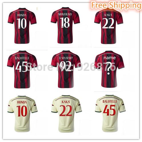 Free! 15 A+++Top Thai Quality Italy AC Milan Jersey 2015 Home/Away KAKA BALOTELLI Soccer jersey Football Shirt Soccer uniforms(China (Mainland))