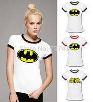 New Cartoon Batman Women T Shirts Casual Womens Ringer Shirt With Short Sleeve O Neck Woman Clothing Wholesale Free Shipping