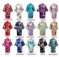 womens Solid royan silk Robe Ladies Satin Pajama Lingerie Sleepwear Kimono Bath Gown pjs Nightgown 15 colors#3699