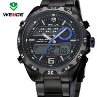 WEIDE Mens Watches 2 Time Zone Analog Digital Multifunction Waterproof Outdoor Casual Sports Watch For Men Full Steel Wristwatch