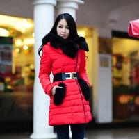 2014 Fashion Winter Down Coat Zipper Fox Fur Collar Pocket Adjustable Waist Thread Female Parka Long Coat Casual Jacket W050