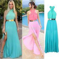 In Stock Elegant Sleeveless A-Line Split Chiffon Party Dress Formal Long Cheap Prom Dresses