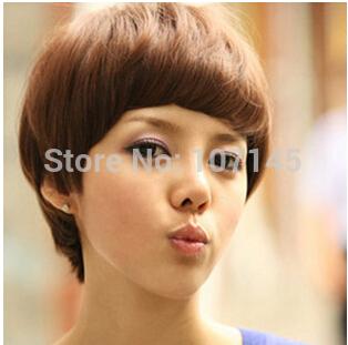 Freeshipping 2014 Beauty Styling Tools Kanekalon Synthetic Perucas Girl's Black Fluffy Cosplay Wig Caps,Short Hair Haircuts(China (Mainland))