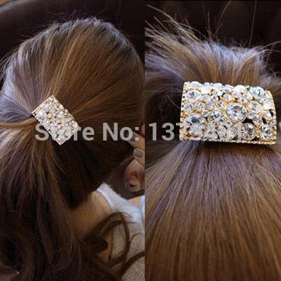 2014 Free Shipping Korea Fashion Hair Accessories Rhinestone Inlay Style Elastic Hair bands Hair Jewelry For Women(China (Mainland))