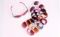 2014 new ladies fashion sunglasses large frame simple blue film UV400 sunglasses wholesale UV- 1812