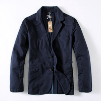 2014 Men Brand Suits & Blazers 100% cotton yarn card suit single row double buckle suit