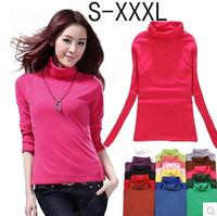 2014 Autumn Pullovers Women's Milk Velvet Turtleneck T shirt Woman Long-sleeve Basic Shirt White Solid Knitted Sweaters W00245