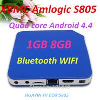 Perfect support XBMC Amlogic S805 Quad Core Cortex A5 ,4 CPU(1.5GHZ) + 4GPU(Mali-450)  Android 4.4  4K 1GB 8GB Bluetooth WIFI