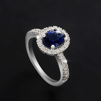 Sea blue egg-shaped female ring aaa zircon inlaying platinum ring luxury pigeon eggs women's ring
