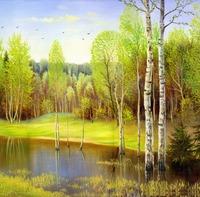 Nice Marsh Oil Painting DIY Paint by Numbers 50x40cm (20x16'') PBN LG7132