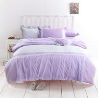 Textile cotton 100% rustic purple princess bedding set 100% bedding cotton bed skirt