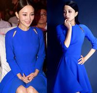 M-XL 2014 Fashion Korean Women O-Neck Long Sleeve Slim Pure Dresses Autumn Winter Casual Mini Pleated Blue Dresses Free shipping