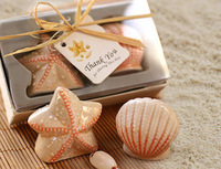 Free Shipping Beach Wedding Gift Favor 10Pcs=5 Sets Double Fresh Starfish Sea Star Seashell Ceramic Salt and Pepper Shaker