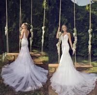 2015 Riki Dalal Bridal Dress Romantic Spaghetti Strap Tulle Lace Backless Mermaid Wedding Dresses Bridal Gown Big Train