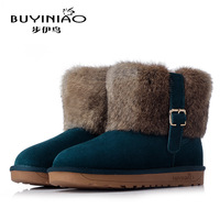 Free Shipping 2014 Hot Sale Winter Warm Women Comfortable Classics Solid Warm flat heels Snow Boots Ladies leather boots