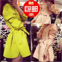 2014 autumn bf bandage slim waist princess one-piece dress women's trench outerwear