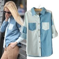 2014 Autumn New Women Casual Oversized Long Sleeve Contrast Color Denim Shirt Light Blue S M L