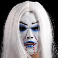 white long hair bleeding toothy scary halloween horror ghost mask latex soft masquerade masks tokyo ghoul realistic costume prop