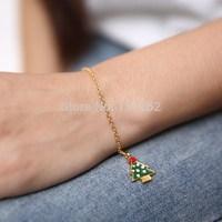 2014 fashion jewelry gold plated charm christmas tree bracelet nice gift bracelet one direction bracelets women bracelet