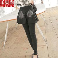 Woman's fashion Pantskirt False two pieces Pantskirt PU Leather Pants W3147