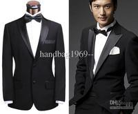 Fashion Good price Peak Satin Lapel Black Groom Tuxedos Back Vent Best Man Suits Groomsmen Men Wedding Suits (Jacket+Pants+Girdl