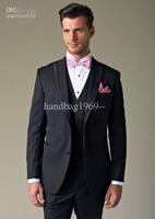 Fashion Best selling Dark Navy Peak Lapel Groom Tuxedos Best Man Suits Groomsmen Men Wedding Suits (Jacket+Pants+Vest+Tie) OK:51