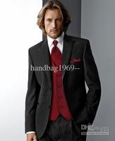 Fashion Custom Design Two buttons Peak Lapel Black Groom Tuxedos Best Man Suits Groomsmen Men Wedding Suits (Jacket+Pants+Vest+T