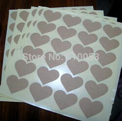 500pcs high quality kraft heart Shape label stickers baking sticker DIY seal stickers(China (Mainland))