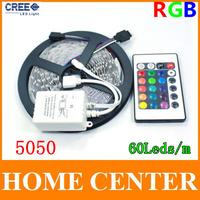 5M 5050 RGB 300Leds Led Strips light  DC12V with 24Key Infrared remote controller  60leds/m