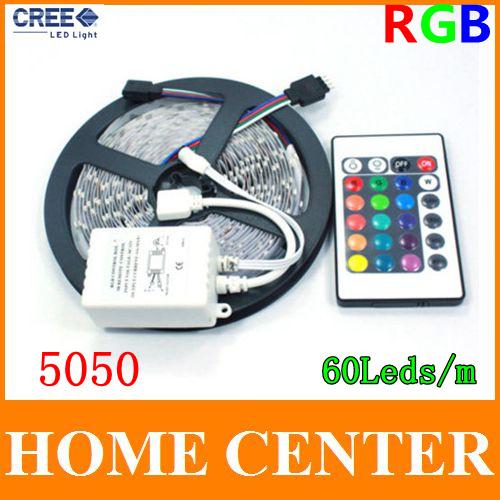 5M 5050 RGB 300Leds Led Strips light DC12V with 24Key Infrared remote controller 60leds/m(China (Mainland))